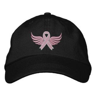 Alas de la cinta del cáncer de pecho gorras de béisbol bordadas