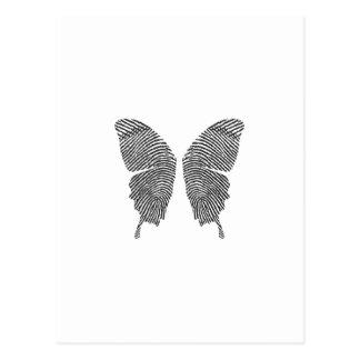 Alas de la mariposa de la huella dactilar tarjeta postal