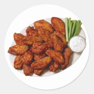 Alas de pollo pegatina redonda