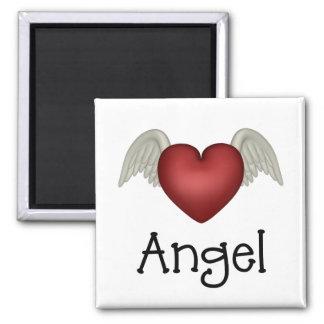 Alas del ángel del corazón imán cuadrado