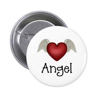 Alas del ángel del corazón pin redondo de 2 pulgadas