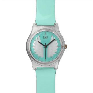 Alas del ángel del monograma relojes de pulsera