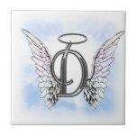 Alas del ángel y letra D del monograma del halo Azulejo Cerámica