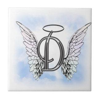Alas del ángel y letra D del monograma del halo Azulejo Cuadrado Pequeño