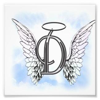 Alas del ángel y letra D del monograma del halo Cojinete