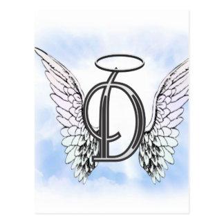 Alas del ángel y letra D del monograma del halo Postal