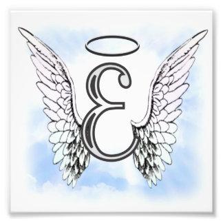 Alas del ángel y letra E del monograma del halo Impresion Fotografica