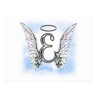 Alas del ángel y letra E del monograma del halo Postal