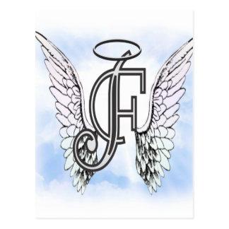 Alas del ángel y letra F del monograma del halo Postal