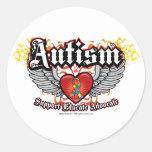 Alas del autismo etiquetas redondas