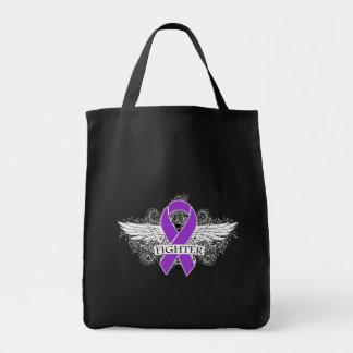 Alas del combatiente del cáncer pancreático bolsa lienzo