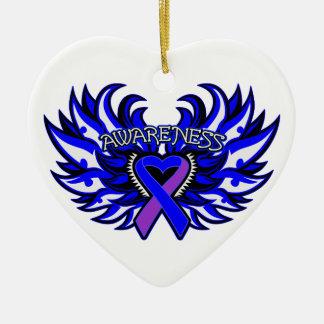 Alas del corazón de la conciencia de la artritis adorno navideño de cerámica en forma de corazón