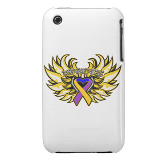 Alas del corazón de la conciencia del cáncer de ve Case-Mate iPhone 3 carcasa