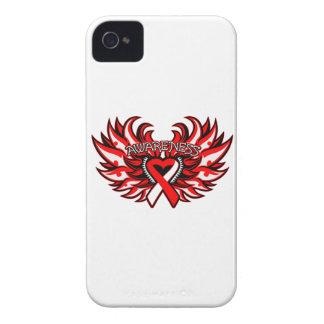 Alas del corazón de la conciencia del carcinoma de iPhone 4 Case-Mate protector