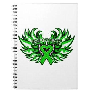 Alas del corazón de la conciencia del glaucoma notebook