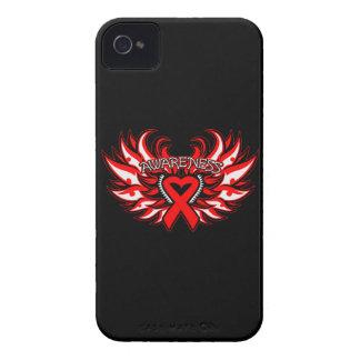 Alas del corazón de la conciencia del VIH del SIDA Case-Mate iPhone 4 Protectores
