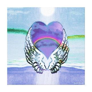 Alas del corazón y del ángel del arco iris impresiones en lona estiradas