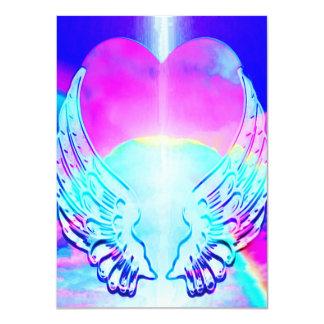 """Alas del corazón y del ángel del arco iris invitación 4.5"""" x 6.25"""""""