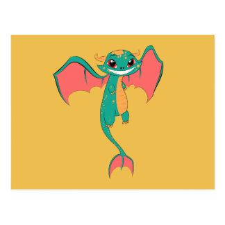 Alas del dragón, dibujo animado lindo tarjetas postales