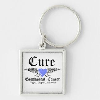 Alas del esófago del tatuaje del cáncer de la cura llavero cuadrado plateado
