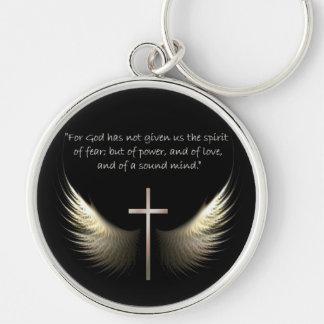 Alas del Espíritu Santo con verso de la cruz y de Llavero Redondo Plateado