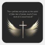 Alas del Espíritu Santo con verso de la cruz y de Calcomanías Cuadradass