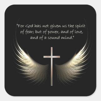 Alas del Espíritu Santo con verso de la cruz y de Pegatina Cuadrada