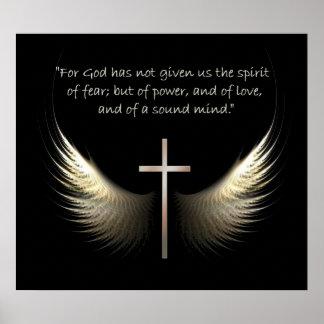 Alas del Espíritu Santo con verso de la cruz y de Póster