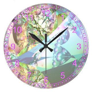 Alas del fractal abstracto cristalino Amethyst de Reloj Redondo Grande