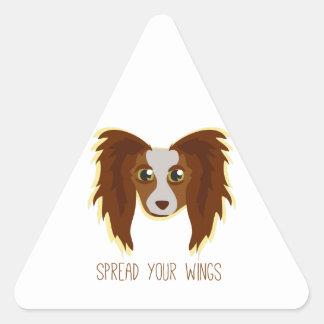 Alas del perro pegatina de triangulo personalizadas