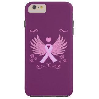 Alas del rosa del cáncer de pecho con la cinta funda resistente iPhone 6 plus