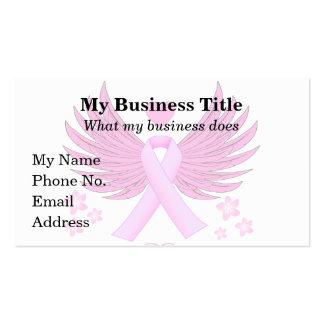 Alas del rosa del cáncer de pecho con la cinta tarjetas de visita