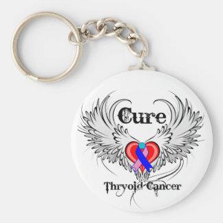 Alas del tatuaje del corazón - cáncer de tiroides  llavero personalizado