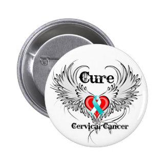 Alas del tatuaje del corazón del cáncer de cuello  pin redondo 5 cm