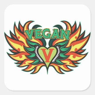Alas del vegano pegatina cuadrada