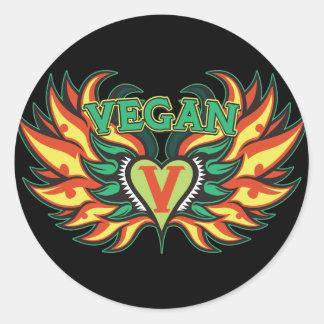 Alas del vegano pegatina redonda