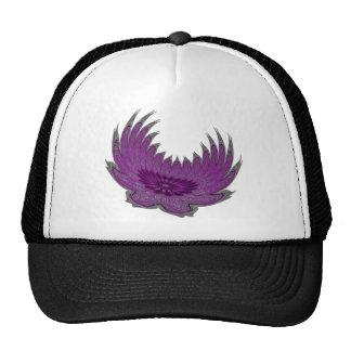 Alas florecientes púrpuras gorros bordados