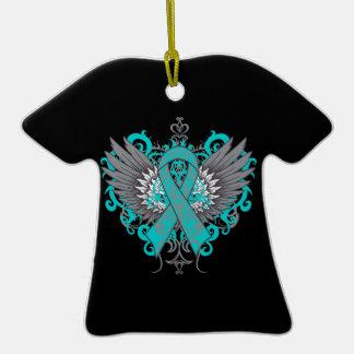 Alas frescas del cáncer ovárico adorno de cerámica en forma de camiseta