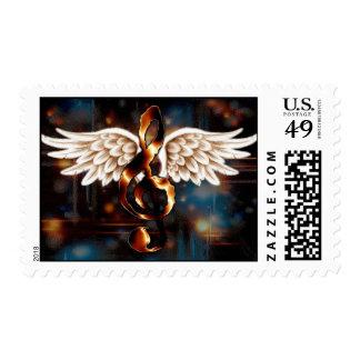 Alas musicales sello postal