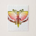 Alas negras y rosadas de la mariposa del melocotón puzzle con fotos