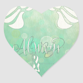 Alas, pintura digital del extracto, goma verde pegatina en forma de corazón