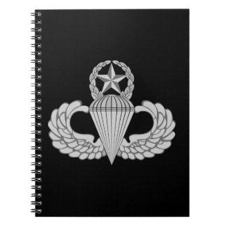 Alas principales del salto/del paracaidista libro de apuntes con espiral