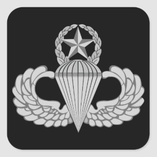Alas principales del salto/del paracaidista pegatina cuadrada