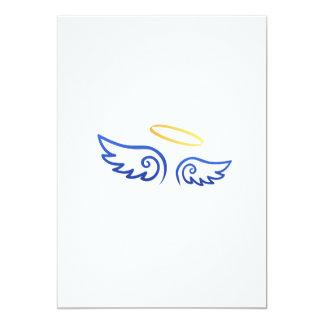 """Alas reales del ángel azul con halo invitación 5"""" x 7"""""""
