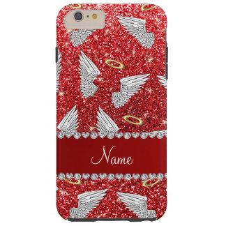 Alas rojas conocidas de encargo del ángel del funda de iPhone 6 plus tough