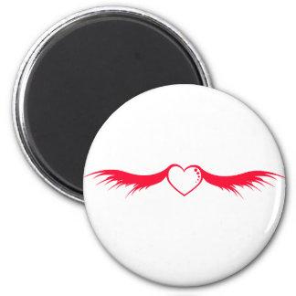 Alas rojas del corazón imán redondo 5 cm