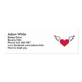 Alas rojas del corazón tarjeta de visita