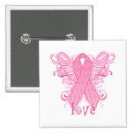 Alas rosadas del amor de la cinta pin