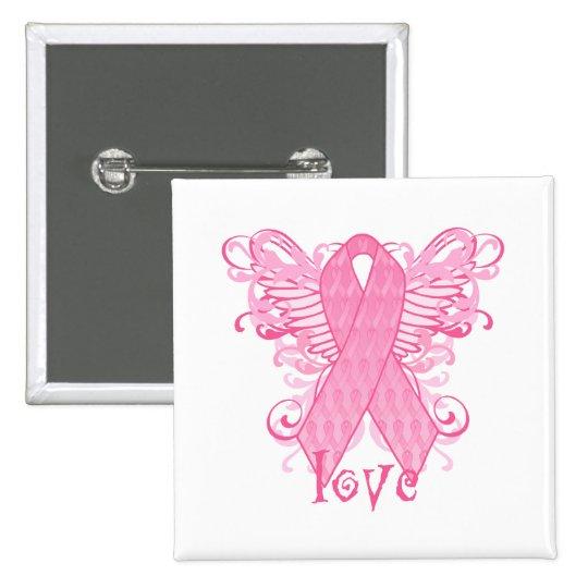 Alas rosadas del amor de la cinta pin cuadrado