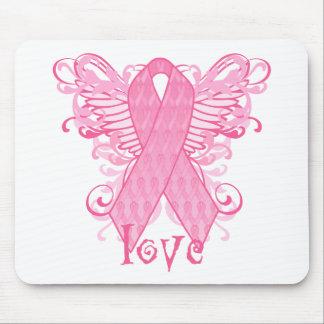 Alas rosadas del amor de la cinta tapetes de ratón